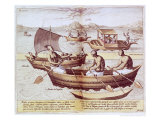 Boats in Goa, Illustration from Jan Hughen Van Linschoten Giclee Print by Johannes Baptista Van Doetechum The Younger