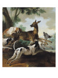 A Deer Chased by Dogs, 1725 Giclee Print by Jean-Baptiste Oudry