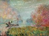 Claude Monet - The Boat Studio on the Seine, 1875 - Giclee Baskı