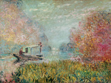 The Boat Studio on the Seine, 1875 Premium Giclee Print by Claude Monet