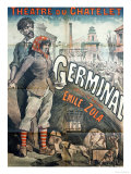 "Poster Advertising a Performance of the Play ""Germinal"" by Emile Zola at the Theatre Du Chatelet Giclee Print by Emile Levy"