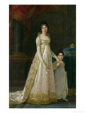 Portrait of Marie-Julie Clary Queen of Naples with Her Daughter Zenaide Bonaparte 1807 Giclee Print by Robert Lefevre