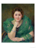 Portrait of a Russian Woman with a Green Scarf Giclee Print by Jules Ernest Renoux