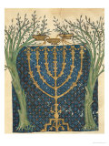 Illumination of a Menorah, from the Jewish Cervera Bible, 1299 Giclee Print by Joseph Asarfati