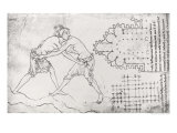 Two Wrestlers, Plan of a Cistercian Church and Plan of the Choir of Notre-Dame de Cambrai Giclée-Druck von Villard de Honnecourt