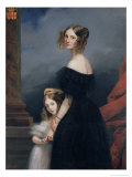 Portrait of Anne-Louise Alix de Montmorency, with Her Daughter, circa 1840 Giclee Print by Claude-Marie Dubufe