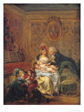 The Satisfaction of Marriage Or, the Happy Family Giclee Print by Francois Louis Joseph Watteau