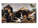 Bear Hunt Or, Battle Between Dogs and Bears Giclée-Druck von Paul De Vos