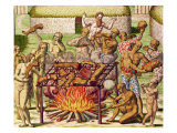 "Scene of Cannibalism, from ""Americae Tertia Pars..."", 1592 Giclee Print by Theodor de Bry"