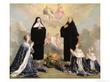 Anne of Austria and Her Children at Prayer with St. Benedict and St. Scholastica, 1646 Giclee Print by Philippe De Champaigne