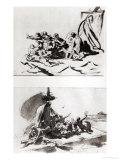 Two Sketches for the Raft of the Medusa, circa 1819 Giclée-trykk av Théodore Géricault