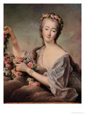 Portrait of the Countess Du Barry as Flora Premium Giclee Print by Francois Hubert Drouais