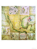 Map of the Route Followed by Hernando Cortes During the Conquest of Mexico Giclee Print