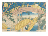 "Fan Bridge by Moonlight, from ""Views of Mount Tempo"", 1834 Giclee Print by Yashima Gakutei"