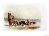 Dog Sledges of the Mandan Indians Giclee Print by Karl Bodmer