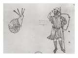 Snail and Hungarian Soldier Giclée-Druck von Villard de Honnecourt