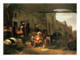 Merchants from Holland and the Middle East Trading in a Mediterranean Port Giclee Print by Thomas Wyck