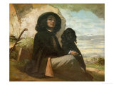 Courbet with His Black Dog, 1842 Giclee Print by Gustave Courbet
