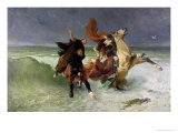 The Flight of Gradlon Mawr circa 1884 Giclee Print by Evariste Vital Luminais