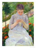 Young Woman Sewing in the Garden, circa 1880-82 Giclee Print by Mary Cassatt