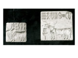 Two Decorated Seals Depicting a Zebu and a Bull, from Mohenjodaro, Protohistoric Giclee Print by Harappan