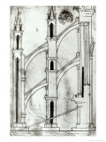 Section of the Wall and Arch of the Absidial Chapels of Reims Cathedral Giclée-Druck von Villard de Honnecourt