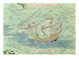 "A Caravel, Detail from ""Cosmographie Universelle"", 1555 Giclee Print by Guillaume Le Testu"