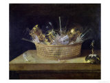 Still Life with a Basket of Glasses, 1644 Premium Giclee Print by Sebastian Stoskopff
