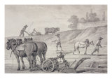 Ploughing the Fields Giclee Print by Jean-Baptiste Huet