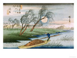 "Full Moon at Seba, from the Series ""69 Stations of the Kisokaido"", circa 1837-42 Giclee Print by Ando Hiroshige"