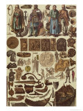 Scandinavian Costumes and Objects up Until 1200, Late 19th Century Giclee Print by Friedrich Hottenroth