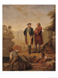 King Frederick II of Prussia and the Marquis of Argens Inspecting the Construction of Sanssouci Giclee Print by Johann Christoph Frisch