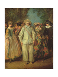 The Actors of the Commedia Dell'Arte Giclee Print by Nicolas Lancret