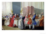 English Tea in the Salon des Quatre Glaces at the House of the Prince de Conti Palais Du Temple Giclee Print by Michel Barthélémy Ollivier