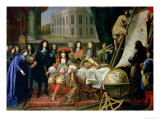 Jean-Baptiste Colbert Presenting Members of the Royal Academy of Science to Louis XIV circa 1667 Giclee Print by Henri Testelin