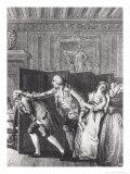 Le Baron...Chassa Candide Du Chateau a Grands Coups de Pied Dans Le Derriere Giclee Print by Jean-Michel Moreau the Younger