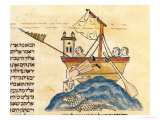 Jonah Eaten by the Whale, from a Hebrew Bible, 1299 Impressão giclée por Joseph Asarfati