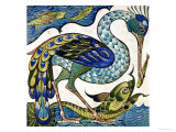 Tile Design of Heron and Fish, by Walter Crane Giclee Print by Walter Crane