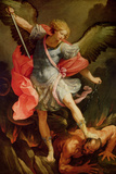 The Archangel Michael Defeating Satan Giclée-tryk af Guido Reni