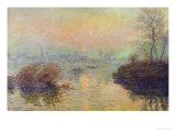 Sun Setting Over the Seine at Lavacourt. Winter Effect, 1880 Premium Giclee Print by Claude Monet