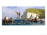 Bathing at Etretat Giclee Print by Eugene Modeste Edmond Lepoittevin