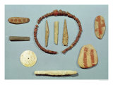 Three Stones with Red Markings from Mas-D&#39;Arvil, a Bone Rod from La Madeleine Giclee Print by Paleolithic 