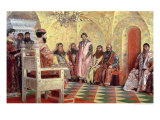 Tsar Mikhail Fyodorovich with Boyars Sitting in His Room, 1893 Giclee Print by Andrei Petrovich Ryabushkin