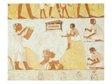 Recording the Harvest, from the Tomb of Menna (Wall Painting) Giclee Print by  Egyptian 18th Dynasty