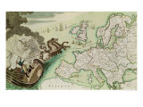 Map Illustrating the Naval Attack on England by Napoleon Bonaparte circa 1803-04 Giclee Print
