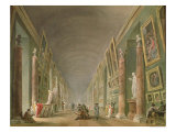 The Grand Gallery of the Louvre Between 1801 and 1805 Giclee Print by Hubert Robert