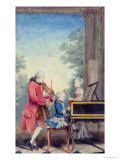 Leopold Mozart and His Children Wolfgang Amadeus and Maria Anna 1777 Giclee Print by  Carmontelle