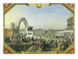 Re-Establishment of the Statue of Henri IV on Pont Neuf, 25th August 1818 Giclee Print by Hippolyte Lecomte