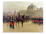 Colonel de La Rochetulon Presenting to the Recruits of the 6th Cavalry in January 1887 Giclee Print by Louis Auguste Georges Loustaunau