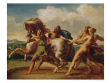 "Slaves Stopping a Horse, Study for ""The Race of the Barbarian Horses"", 1817 Giclee Print by Théodore Géricault"